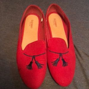 Red loafer-style flats